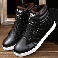 2016 New Men Walking Shoes Winter Warm Sport Sneakers Flat High Top Plus Velvet Genuine Leather