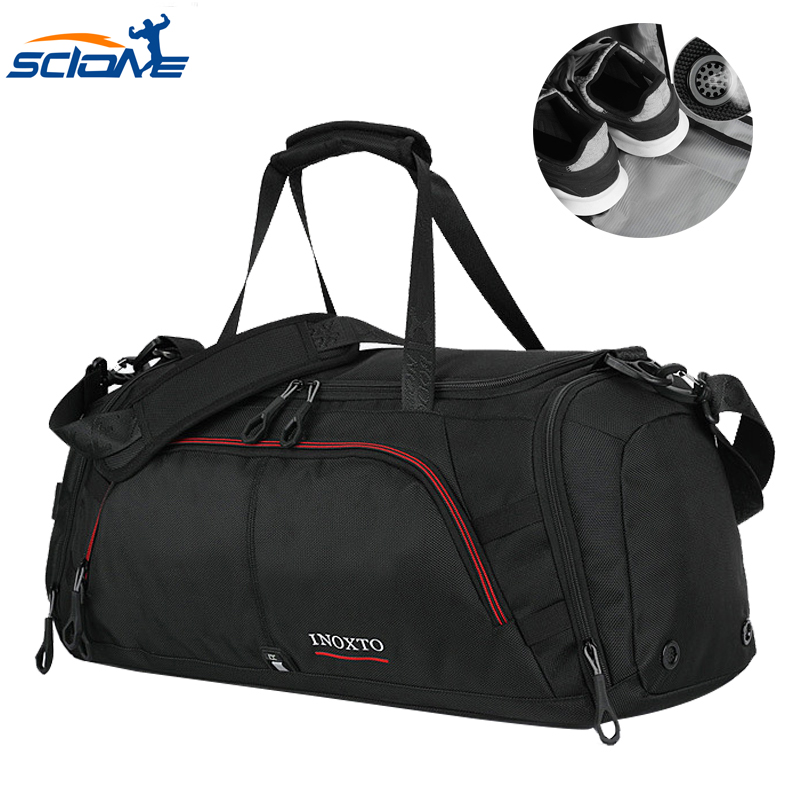 Scione Terylene Casual Men's Sports Bag For Fitness With Shoes Pocket Duffel Tote Travel Shoulder Handbag Bolsa De Deporte