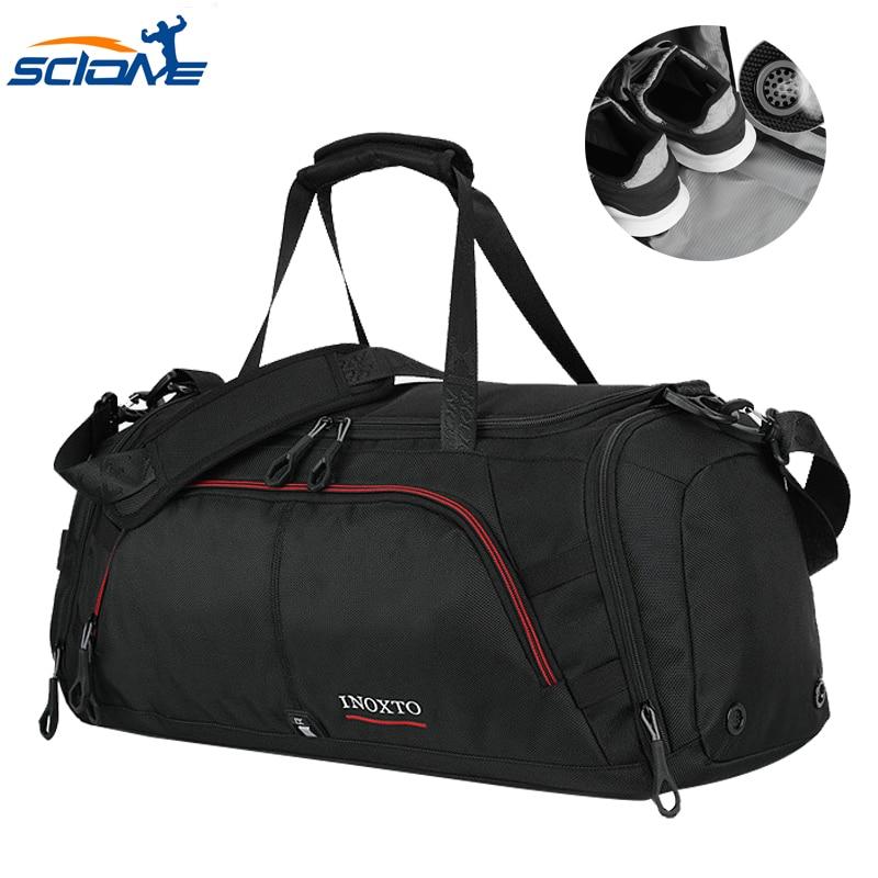 Scione Terylene Casual Men's Sports Bag For Fitness With Shoes Pocket Duffel Tote Travel Shoulder Handbag Bolsa De Deporte