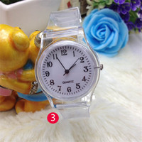 1 PCS SALE Fashion Cute Dial Transparency Leather Strap Leather Watch Fashion Lovely Student Quartz Watch