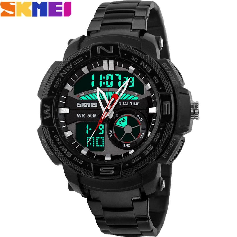 2017 New SKMEI popular Brand Men Military Sports Watches dual time Digital analog LED quartz swim