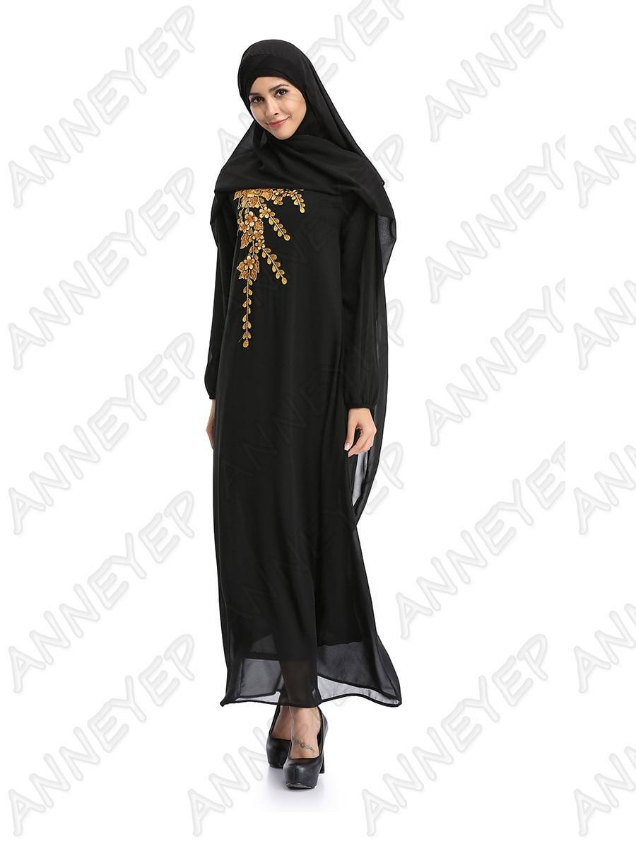 3 color new Adult muslim embroidery abaya Robe Musulmane Turkish Dubai Fashion Abaya Muslim Dress Arab Worship Service wj843