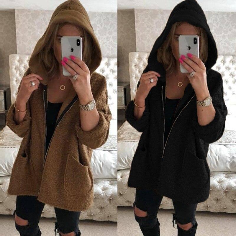 Fur Autumn   Jacket   Women Soft Hooded Fleece Faux Women   Basic     Jacket   Black Loose Desigual Casual Winter Coat Female Outwear MDR96