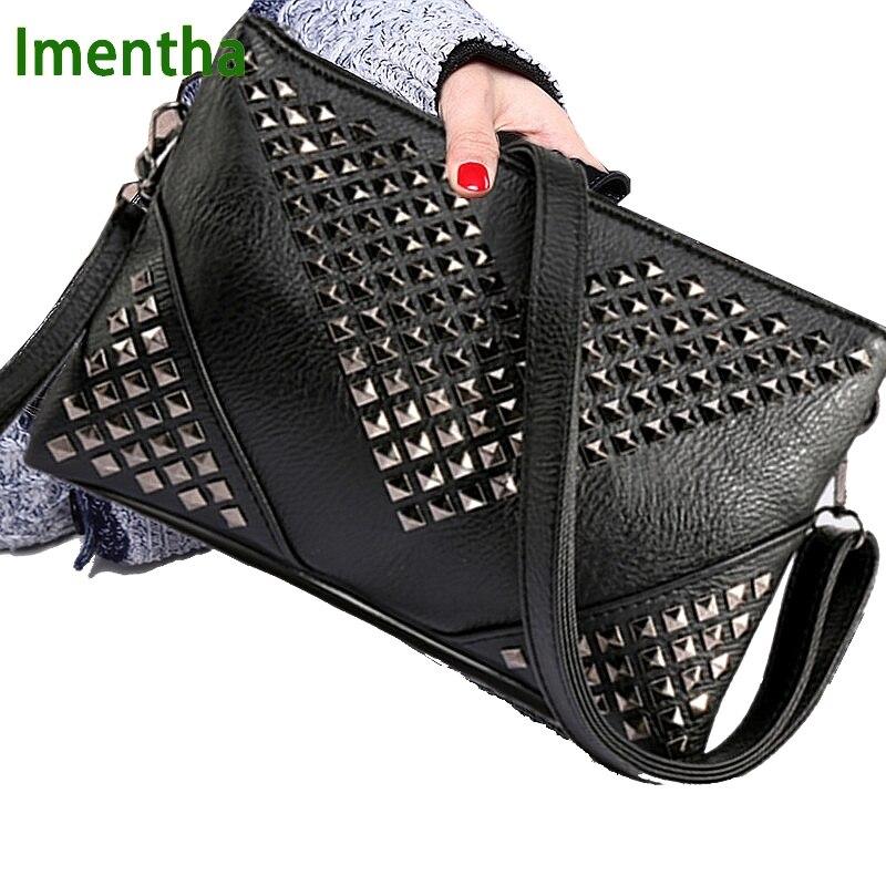 Высокое качество черные женские кожаные сумки заклепки шпилька Crossbody сумки женские сумки, кошельки и сумки на ремне