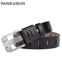 RAINIE SEAN Casual Belt For Men Genuine Leather Pin Buckle Belts Coffee Vintage Brand Real Leather Cowhide Jeans Belt Male 130cm цена