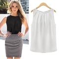 Новый женщины шифон блузка pure color летом без рукавов белый/черный шифон рубашка # B1006 женщины офис плюс размер топ женщины рубашка