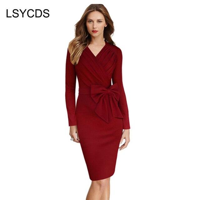 c644940cf 2018 mujeres arco elegante vestido largo de la manga negro sólido rojo  bodycon trabajo Oficina ol