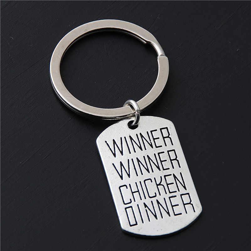 1 pc Tag Pingente de Prata Vencedor Vencedor Chicken Dinner Chaveiros Anel Chave Para O Homem Do Jogo Jóias Chaveiro E2216