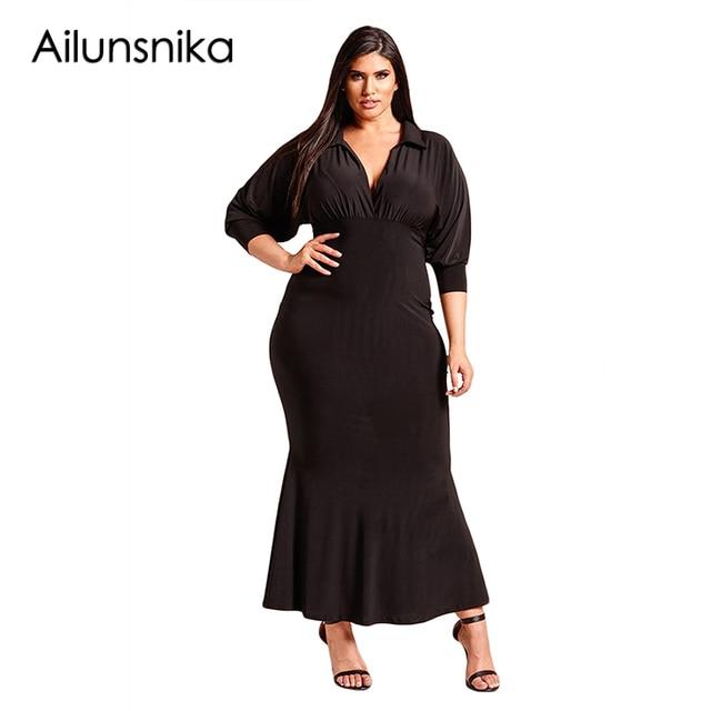 Ailunsnika Plus Size Collared Deep V Maxi Dress New Spring Fashion ...