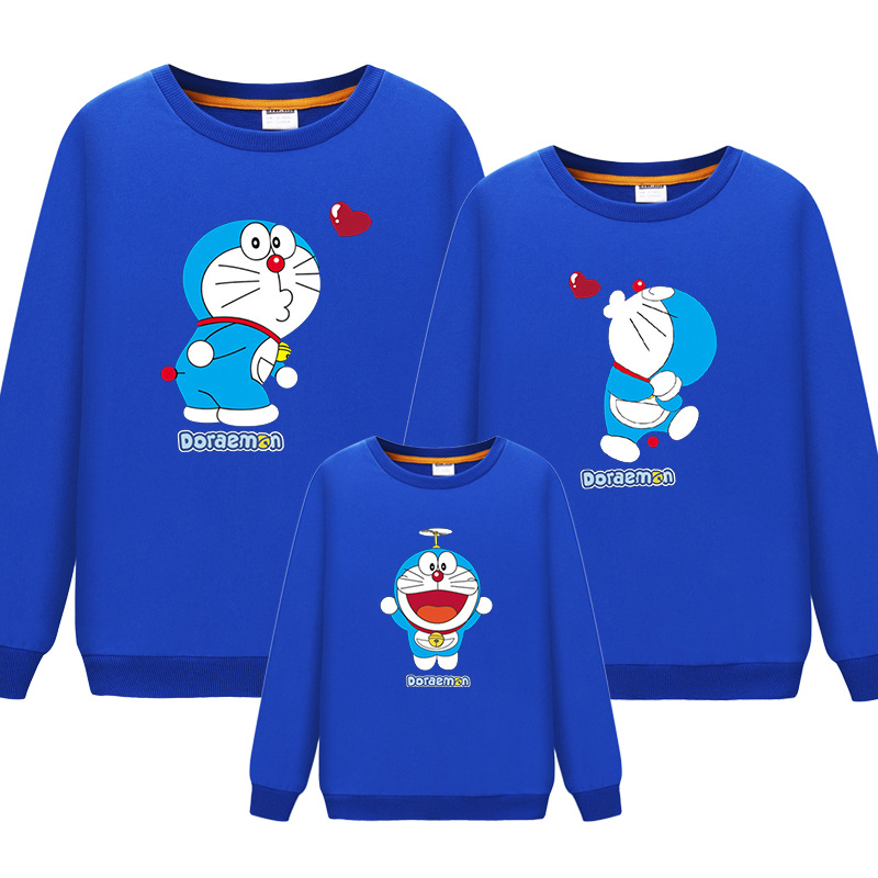 2019Cartoon Doraemon Fashion Mother Father Baby Mommy Cotton Clothes Boys Girls Clothing Lovely Printing Family Matching Outfits
