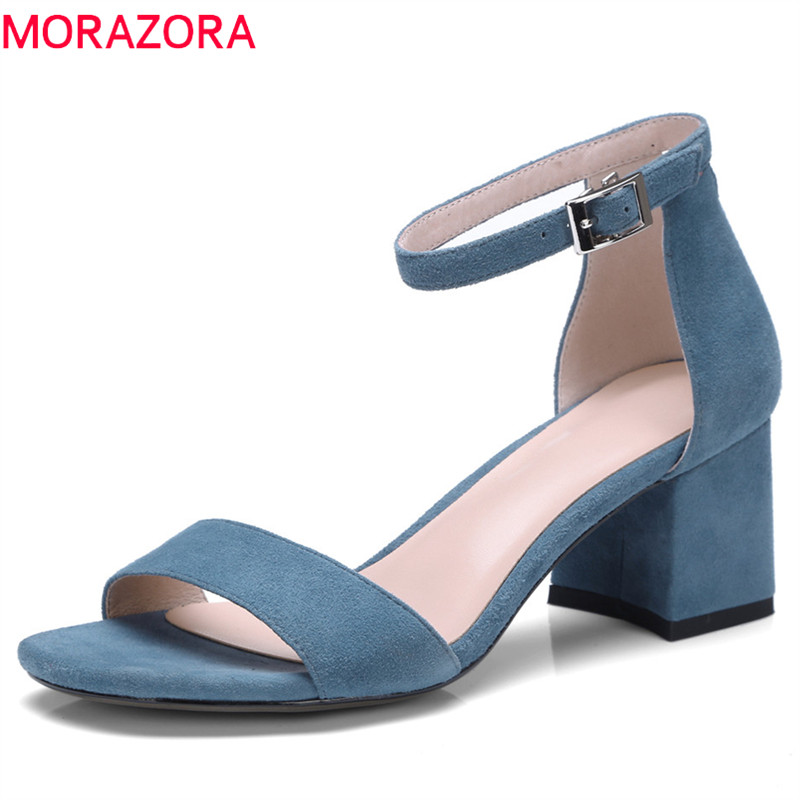 MORAZORA 2018 new arrive women sandals top quality suede leather summer shoes simple buckle cover heel solid casual shoes woman memunia 2018 new arrive women summer sandals sweet bowknot casual shoes simple buckle comfortable square heele shoes woman