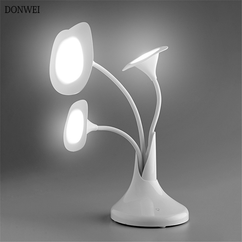 Fast Deliver Donwei Three Heads Desk Lamp Morning Glory Dimming Bedside Table Lamp Rechargeable Usb Lamp Touch Senser Decorative Night Light High Quality Materials Lights & Lighting