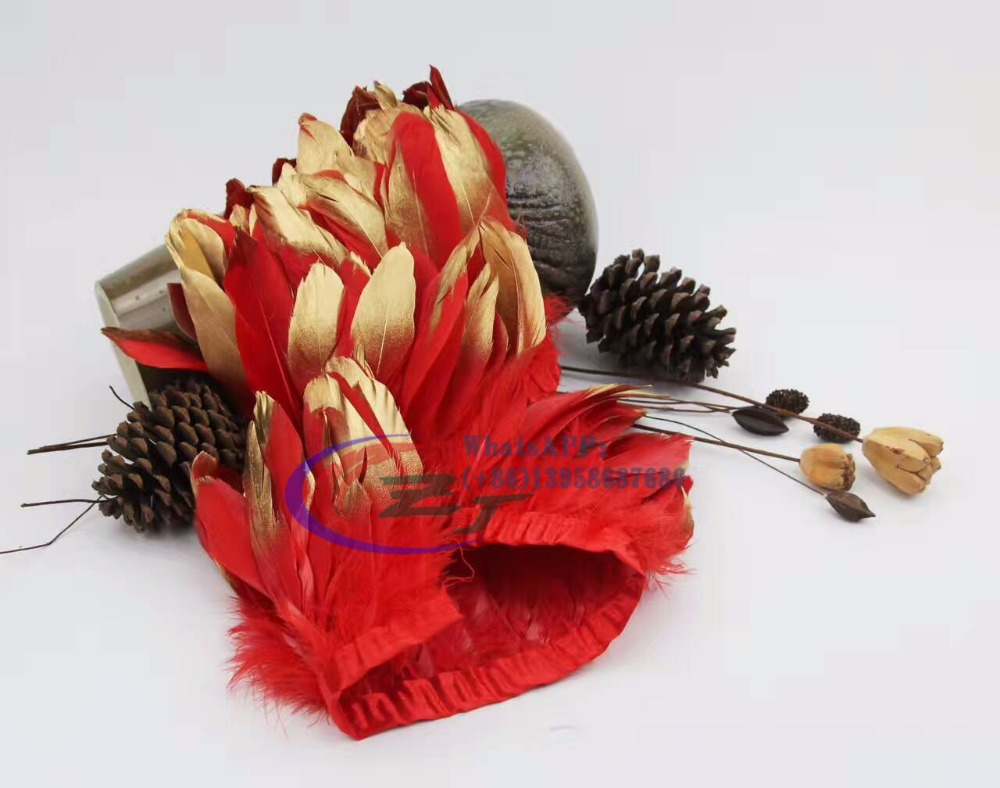 Free Shipping 2yards/ red dyed goose Feather Trim 15-18cm Gold Spray Goose Feather Fringe for Dress/Skirt