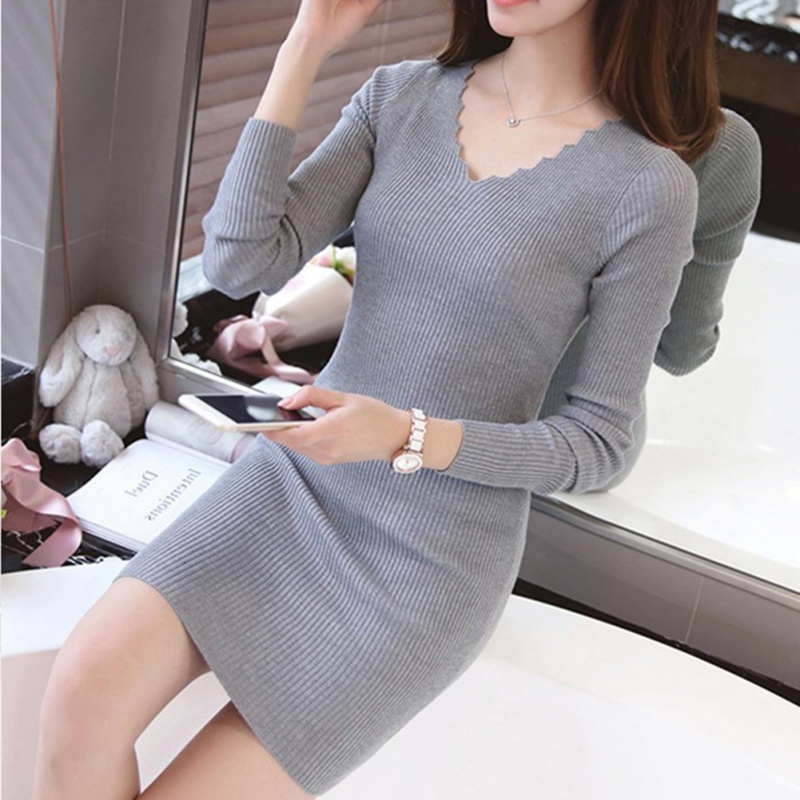 2019 Women Sexy Sweater Dress Autumn Winter Fashion V Neck Bodycon Basic Mini Solid Color Knitted Dress Pullover Maxi Dress