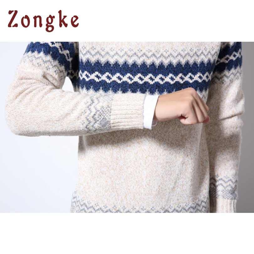 Zongke с круглым вырезом полосатый трикотажный свитер Мужская одежда мужской Рождественский свитер одежда 2019 зима мужские пуловер и свитер для мужчин пальто 5XL