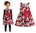 2-6A Novo Verão Vestido Da Menina Minnie Mouse Vestido Para As Meninas impresso Vestido de Festa Para Crianças Crianças de Bolinhas Bebê Menina roupas