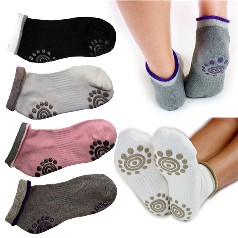 4 Pair Women Non Slip Workout Yoga Socks With Grips Silicone Gel Anti-skid Sole Sports Socks For Pilates Ballet Dance Fitness