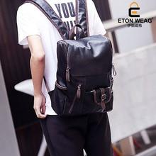 ETONWEAG New 2017 men brands cow leather vintage travel bags cover laptop backpacks blue pockets business style school bag