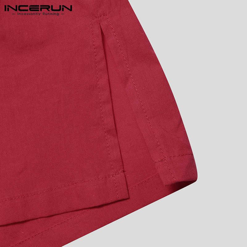 INCERUN 2019 カジュアル無地シャツ綿スタンドカラーボタンルーズ半袖ブランドシャツ男性トップスシュミーズ原宿