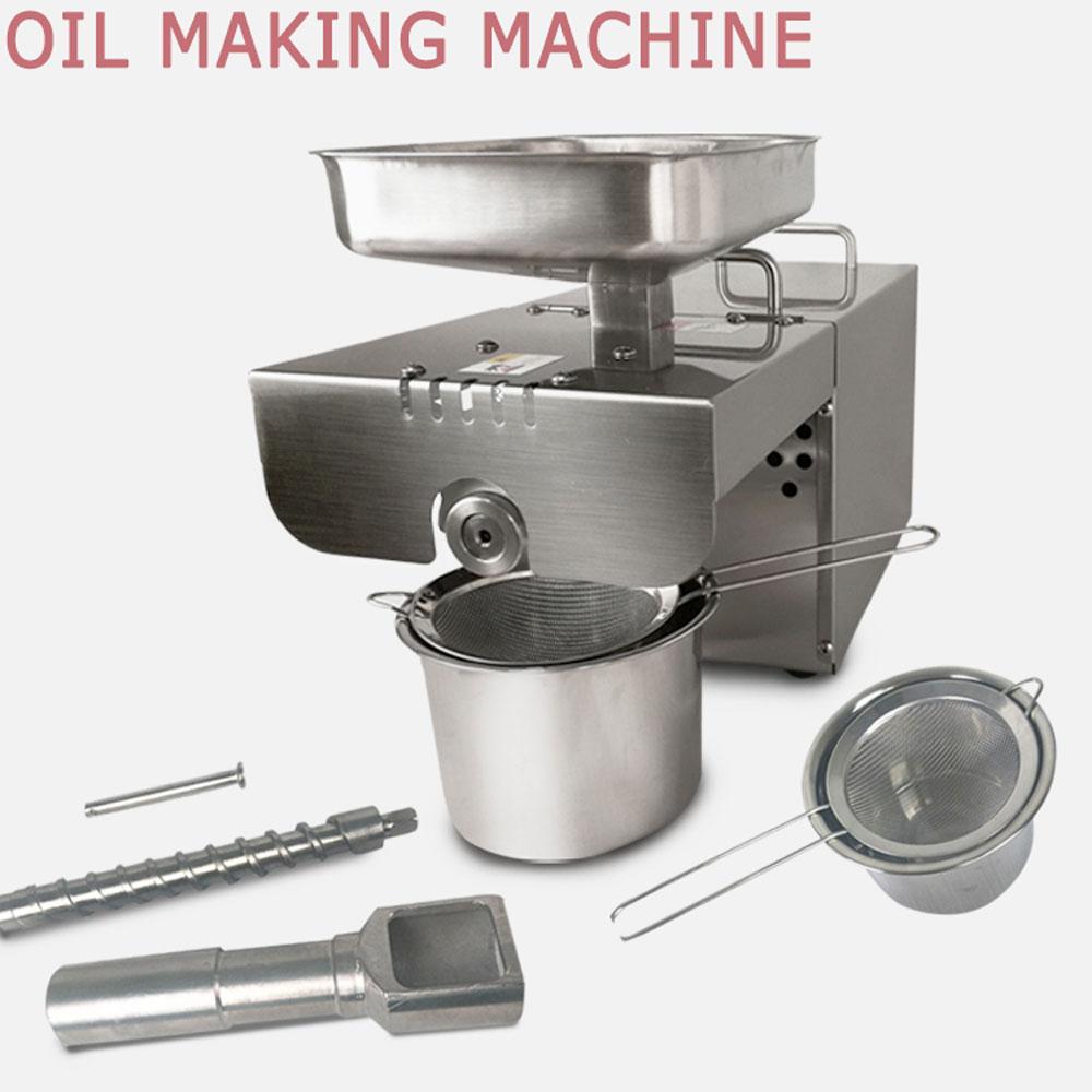 DULONG Oil presser Stainless steel Oil press machine Home use Hot oil presser for sesame/Melon seeds/Rapeseed/flax feeding value of sesame oil cake for broilers