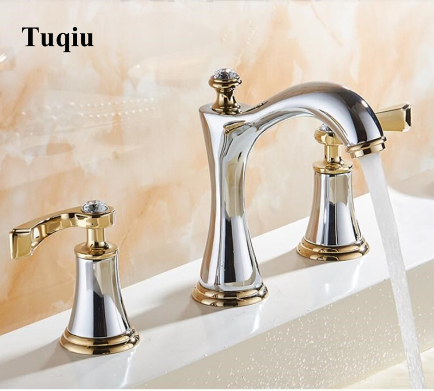 basin faucets brass polished chrome gold deck mounted crystal bathroom sink faucets 3 hole double handle hot and cold water tap