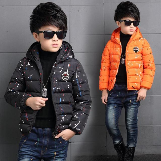 2016 New Fashion Colourful Cotton Boys Clothes Solid White Duck Down Trendful Winter Cutton Warm Cute Clothes kids clothes