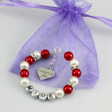 New name Personalised Girl baby Birthday Christmas Gift Charm name Bracelet with bag red