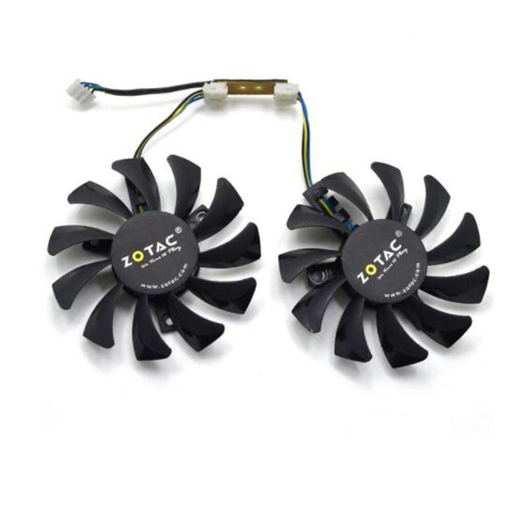 2Pcs/Lot Apistek 75mm GA81S2U DC 12V  0.38A 4Pin Dual Cooler Fan 40x40x40MM For ZOTAC Graphics Video Card Fans drone helipad