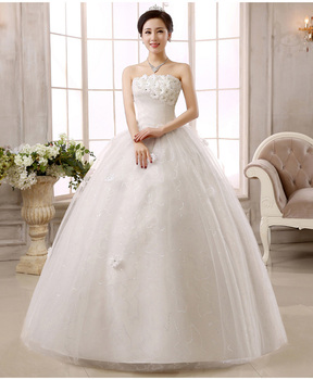 Wedding Gowns for Bride 2019 Dress for Bride Ball Gown Simple Lace Tulle Strapless Sleeveless Floor Length White Plus Size
