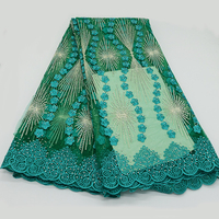 Green high quality French gauze lace fabrics African lace fabrics Nigeria embroidered lace fabrics most brick and stone shiny