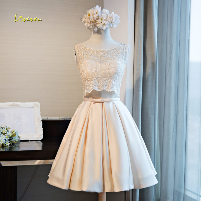 Loverxu New Design Scoop Neck Two Piece Taffeta Homecoming Dresses 2107 Appliques Lace Short Party Gown Prom Graduation Dresses