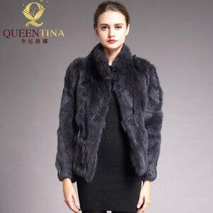 Image 5 - 2020 High Quality Real Fur Coat Fashion Genuine Rabbit Fur Overcoats Elegant Women Winter Outwear Stand Collar Rabbit Fur Jacket