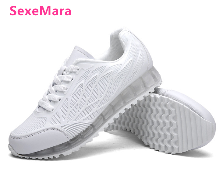 New women Running Shoes Sneakers Arrivals Solid Breathable Mesh Outdoor air cushion Sports Shoes Red White zapatillas mujer