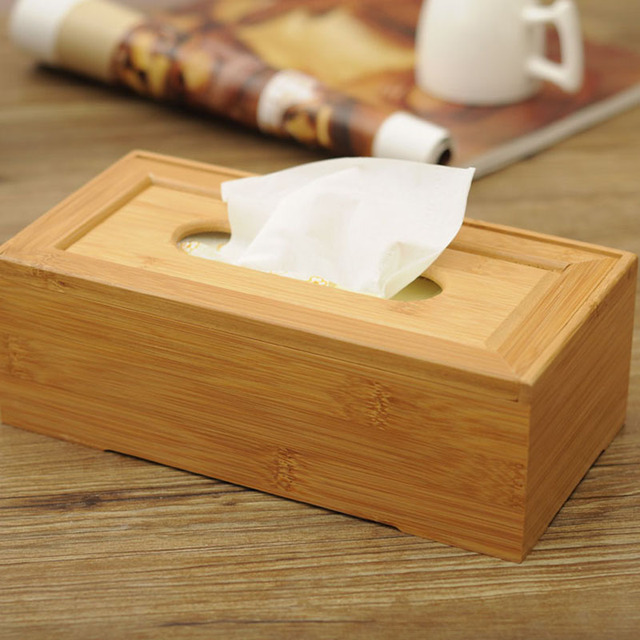 Rustic Bamboo Tissue Box Cover Wood Drawer Quality Flip Type Tissue Boxes  Vintage Creative Napkin Holder