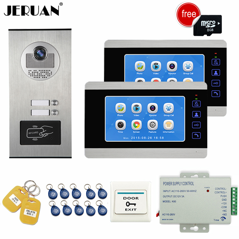 JERUAN Apartment 7 inch Video Door Phone Doorbell Video/Voice Record Intercom system Kit HD RFID Access Camera For 2 Household free shipping brand 7 inch video intercom door phone system 2 monitor 1 hd doorbell camera for 2 household apartment wholesale