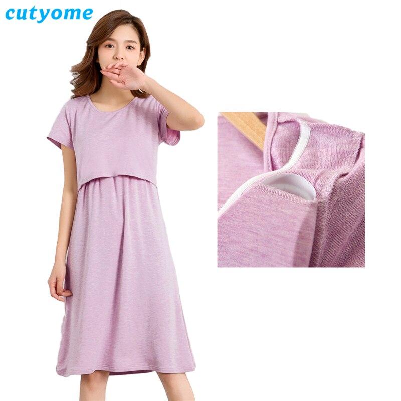 Maternity Clothes Soft Nursing Dresses for Pregnant Women Cutyome Striped Modal Breastfeeding Womens Dress Elegant Vestido Largo