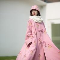 Mm089 new đến mùa đông 2016 phụ nữ cổ điển flare tay áo ngực đơn x dài lỏng một đường thêu áo len màu hồng