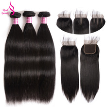 Straight Hair Bundles With Lace Closure 3 Bundles Brazilian Human hair Weave Bundles With Closure Real Beauty Non Remy Hair
