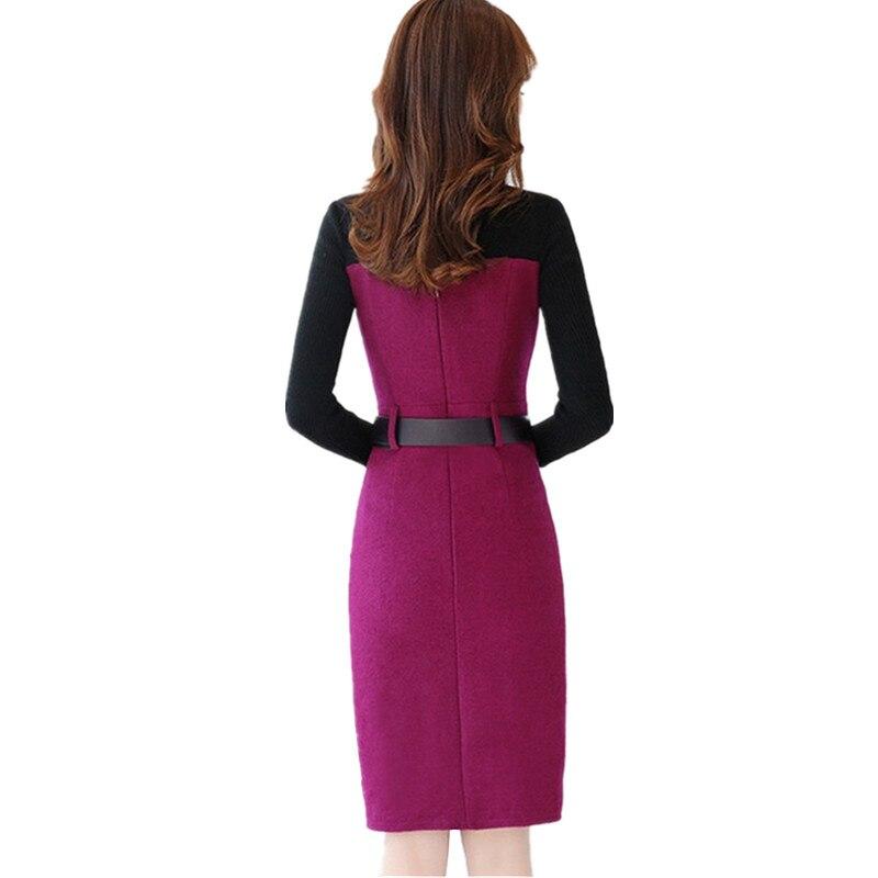 Longues Élégante Femmes Rose Tan armygreen Splice Chaud Okxgnz purple Knit Mode Femme De Laine Hiver 1317 Automne Nouveau Light Robe À Mince Manches Pull byfg76