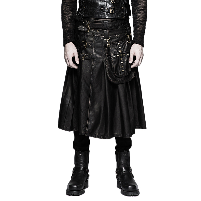 Heavy Punk Men PU Leather Skirts Waist Belt Pocket Black Casual Skirts High Waisted Long Pleated Skirts