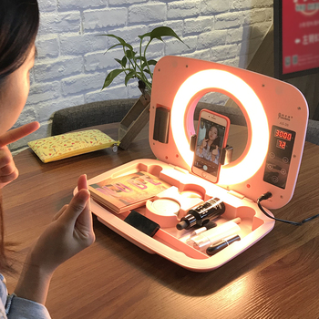 Yidoblo AS-20 make-up ring lamp box with handbag Dimmable 2800-9900K bio-color ring light box touch screen make up box