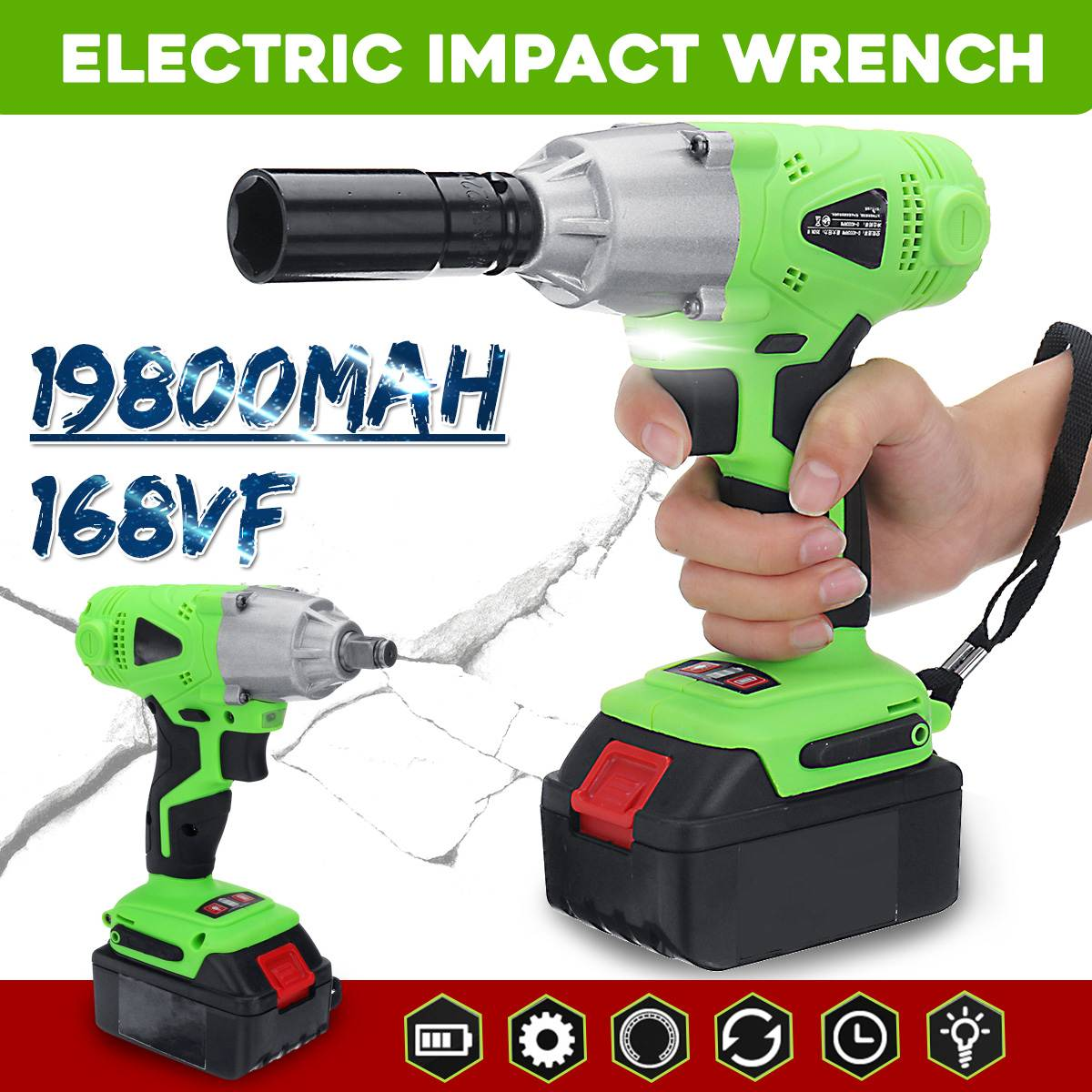 Doersupp 168VF Multifunctional Infinitely Variable Speed Electric Wrench Impact 19800mAh Rechargeable Li-ion Battery Power Tools