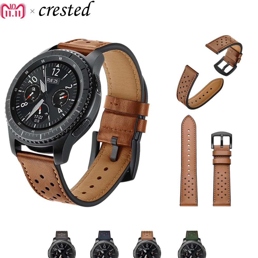 22mm Genuine Leather watch Band for Samsung Gear S3 Frontier/Classic strap for Xiaomi Huami Amazfit Pace/Stratos 2/1 bracelet amazfit leather bracelet watch band 22mm for xiaomi huami amazfit pace stratos 2 correa wrist strap for samsung gear frontier s3