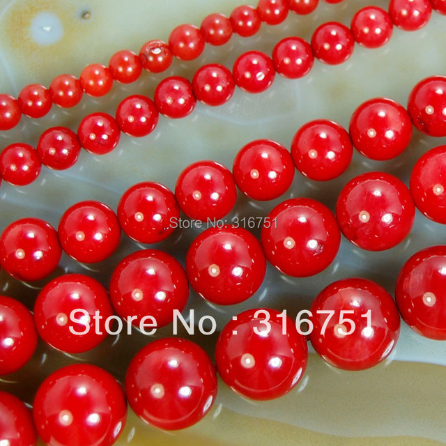 """Hot Sale 15.5"""" Red Coral Round Beads 4mm 6mm 8mm 10mm Pick Size Free Shipping Aa-F00080"""