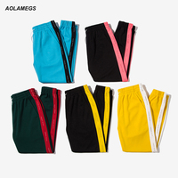 Aolamegs Men Casual Pants Colored Spliced Side Stripe Vintage Track Pants Street Fashion Male Leisure Drawstring