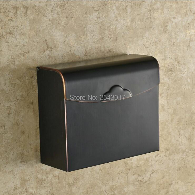 High Quality Bathroom Toilet Paper Holder Waterproof Mobile Phone Holder Classic European Style Black Bronze Tissue Box ZR2328 bomb style toilet tissue box orange