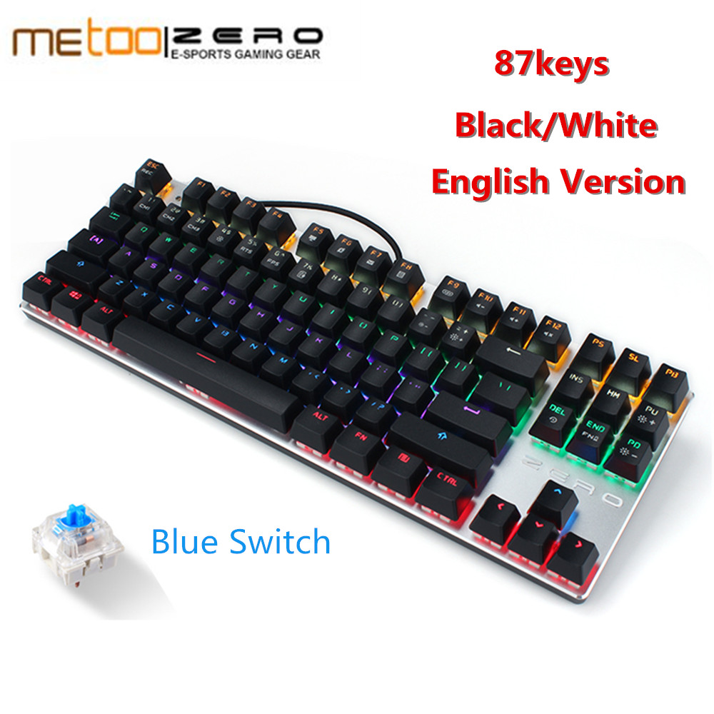 Original Metoo Russian English Blue Red Switch Gaming Mechanical Keyboard 87 104 keys RGB Backlit For Desktop Laptop new metoo mechanical keyboard 87 104 keys blue switch colorful led backlight gaming keyboard for laptop pc game