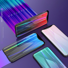 Tempered Glass Case for OPPO Find X FindX Gradient Color Aurora Laser Back Cover Colorful Shining
