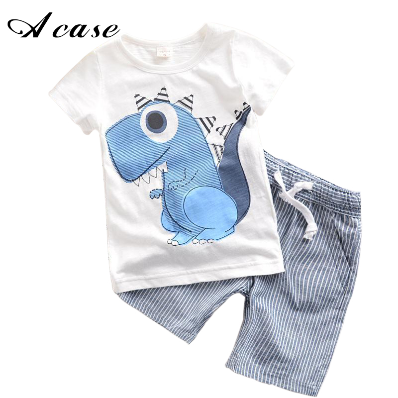 2 3 4 5 6 7 8 Years Toddler Boys Clothing Set 2018 Children Summer Cartoon Dinosaurs Kids Boy T-shit+Striped Pants Cotton Outfit