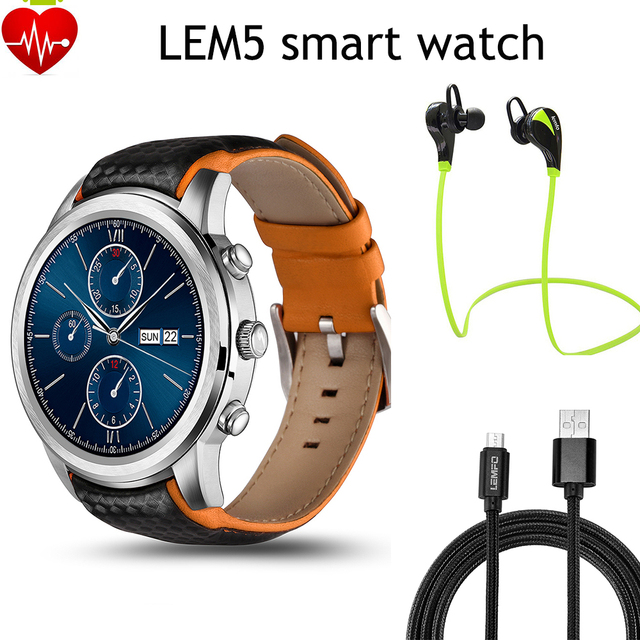 LEMFO LEM5 Android 5.1 Smart Watch Phone MTK6580 Bluetooth 3 Г Wi-Fi 400*400 Экран 1 ГБ/8 ГБ Heart Rate Monitor Smartwatch